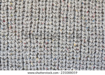 Gray knitted fabric texture - stock photo