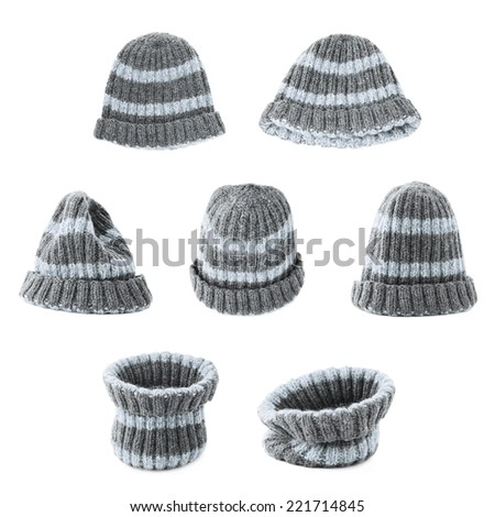 Gray knitted head cap with the stripes, isolated over the white background, set of seven foreshortenings - stock photo