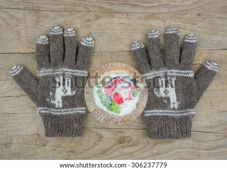 Gray knitted winter gloves isolated on a wooden board with a snow ball - stock photo