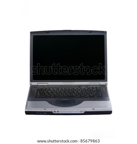 Gray laptop isolated on white.  Close up.