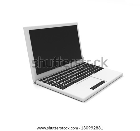 Gray laptop on white background - stock photo