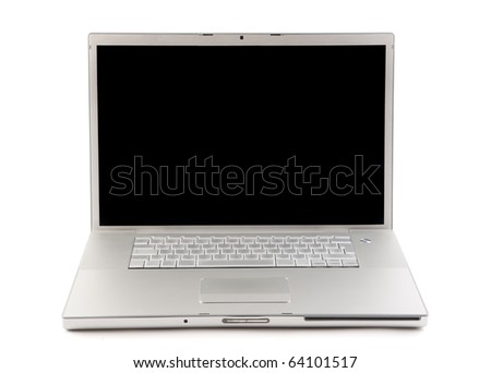 Gray laptop with white background - stock photo