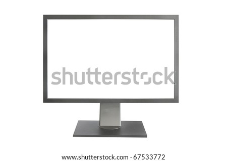 Gray LCD monitor with empty screen isolated on white - stock photo
