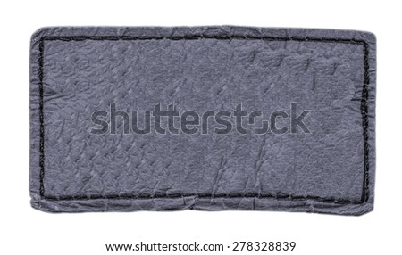 gray leather label isolated on white - stock photo