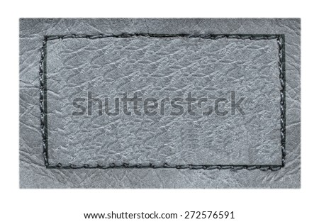 gray  leather label on white background, frame - stock photo
