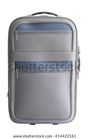 gray luggage on white background with clipping path - stock photo
