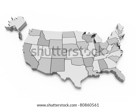 Gray map of USA. 3d