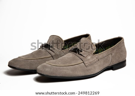 Gray men shoe isolated on white background