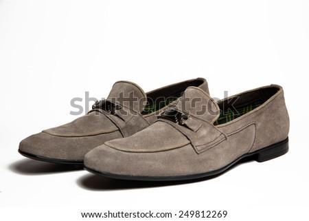 Gray men shoe isolated on white background - stock photo