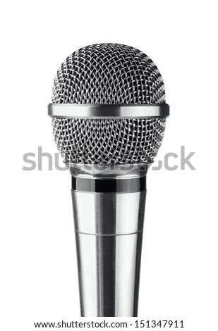 Gray microphone on a white background - stock photo
