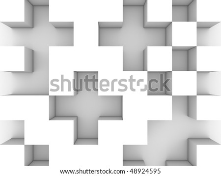 Gray monochrome cubic background - stock photo