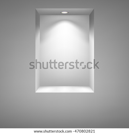 Gray niche for presentations with illuminated light. Drawn with mesh tool. Fully adjustable and scalable, illustration.
