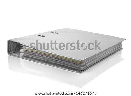 gray office folder, isolated on white background