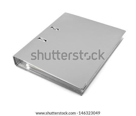 gray office folder, isolated on white background - stock photo