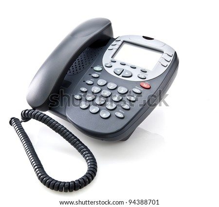 Gray office telephone isolated on a white background - stock photo