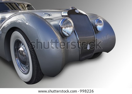Gray old car. + clipping path. - stock photo