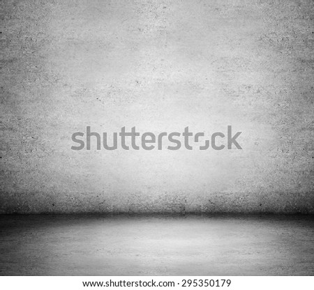 gray old wall and concrete floor - stock photo