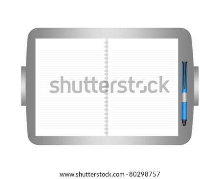 gray organizer with blank paper with blue pen isolated over white background