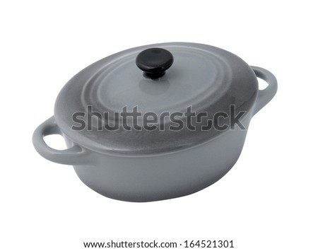 gray pan isolated on a white background - stock photo