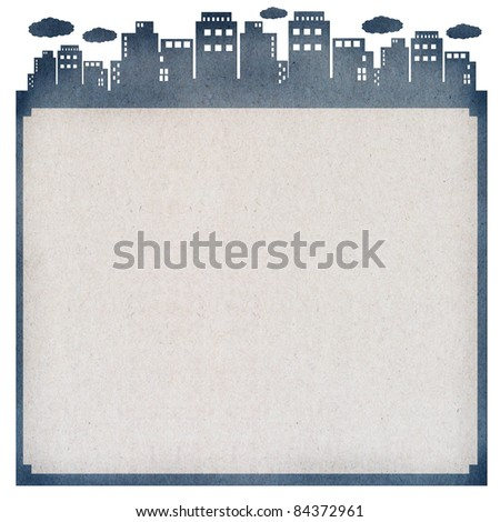 gray paper card, cut paper with the city - stock photo