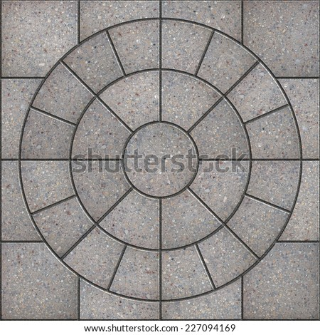 Gray Pavement  Slabs in the Form of Circle. Seamless Tileable Texture. - stock photo