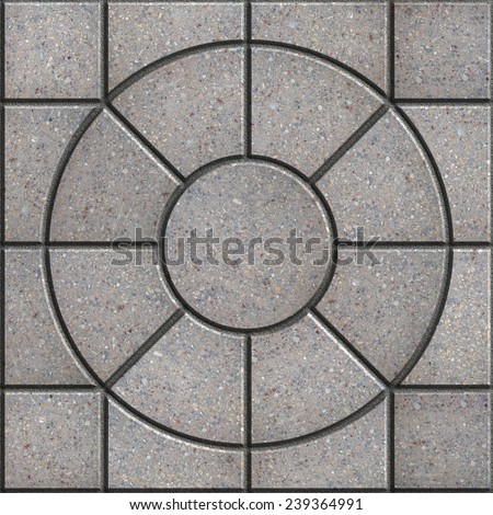 Gray Pavement Slabs of Eight Elements in the Form of Circle. Seamless Tileable Texture. - stock photo