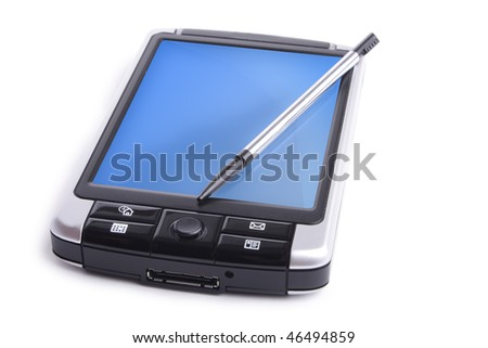 gray PDA with black butons on white background (isolated)