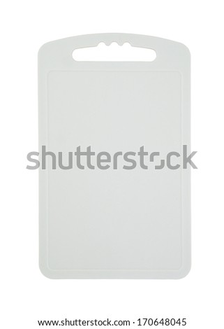Gray plastic cutting board isolated on white  - stock photo