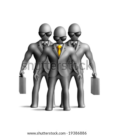 Gray plasticine businessmen figures on a white background - stock photo