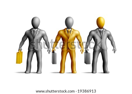 Gray plasticine businessmen figures with an golden fragments on a white background - stock photo