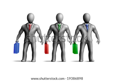 Gray plasticine businessmen figures with an multicolored accessories on a white background - stock photo