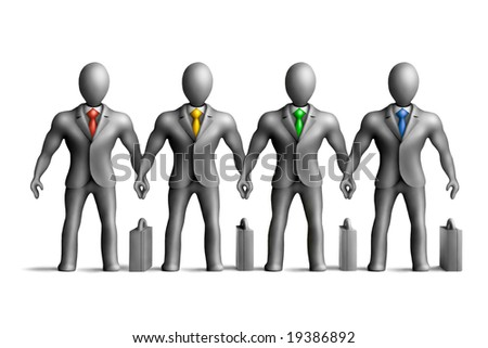 Gray plasticine businessmen figures with an multicolored ties on a white background - stock photo