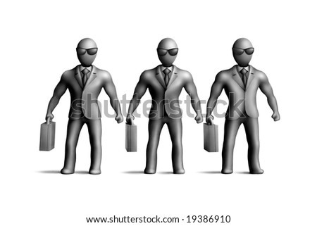 Gray plasticine figures on a white background
