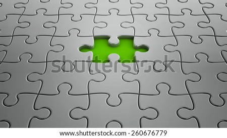 Gray puzzle pieces with one piece missing, three-dimensional rendering