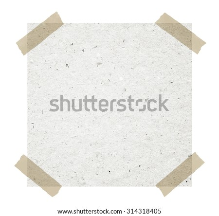 Gray recycled note paper with adhesive tape on white background - stock photo