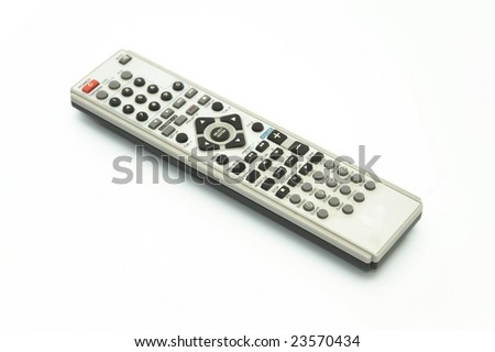 Gray remote control isolated on white - stock photo