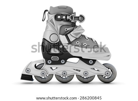 Gray roller skate side view isolated on white background. 3d illustration. - stock photo