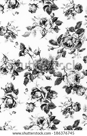 Gray Rose Fabric background, Fragment of colorful retro tapestry textile pattern with floral ornament useful as background - stock photo