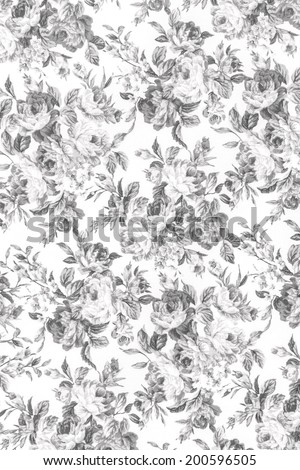 Gray rose fabric background, Fragment of colorful retro tapestry textile pattern with floral ornament useful as background. - stock photo
