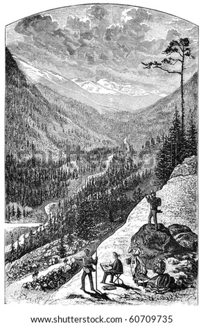 "Gray's peak in the Colorado Rockies. Illustration originally published in Hesse-Wartegg's ""Nord Amerika"", swedish edition published in 1880. The image is currently in public domain - stock photo"