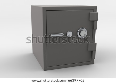Gray safe isolated against a white background.