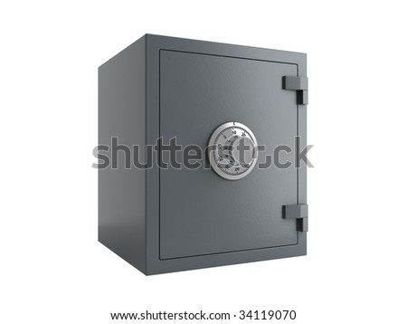 gray safe over a white background
