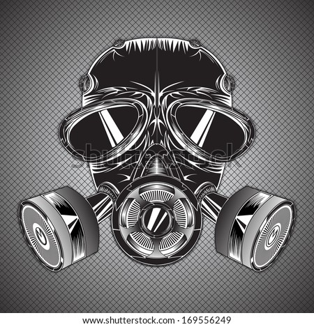 Gray-scale gas air mask illustration - stock photo