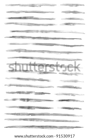 Gray scale watercolor brush stroke isolated on white background - stock photo