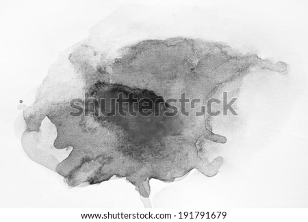 Gray-scale watercolor macro texture background. Abstract aquarelle texture black and white backdrop pictured. Paintbrush hand made technique. - stock photo