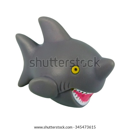 Gray shark toy. Kids bathing toy. - stock photo