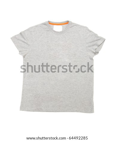gray shirt isolated on white background - stock photo