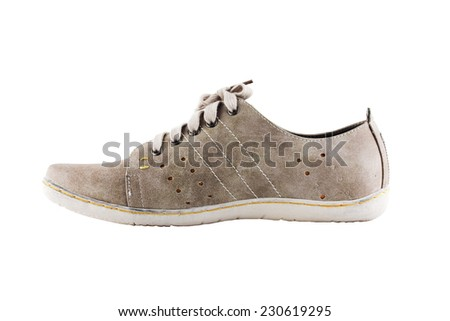 gray shoe isolated on white background. - stock photo