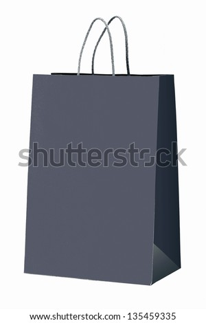 Gray shopping bag on white.