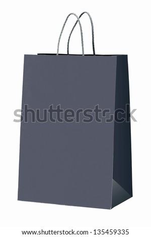Gray shopping bag on white. - stock photo